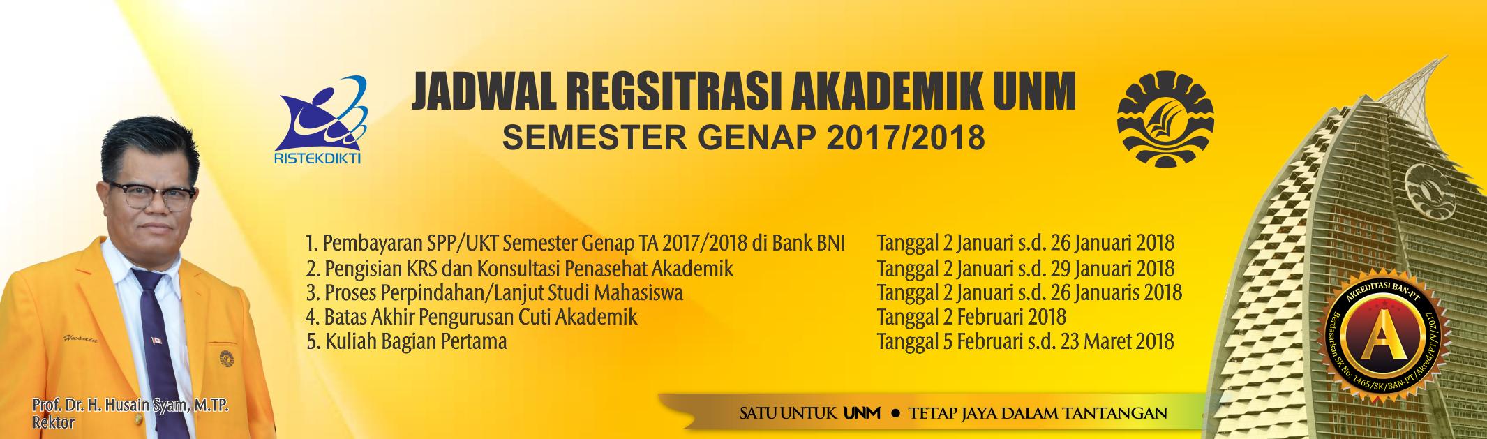 Jadwal Registrasi Akademik UNM